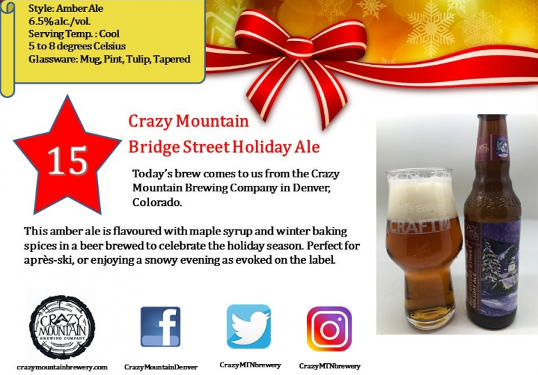 Crazy Mountain 2017 Bridge Street Holiday Ale