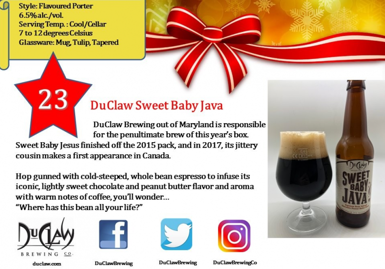 Day 23: DuClaw Brewing Sweet Baby Java